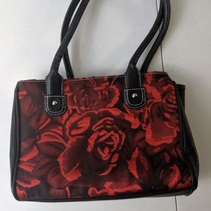 Wilsons  Leather red flowered purse